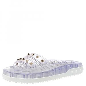 Valentino Garavani Light Grey PVC Rockstud Flat Slides Size 40