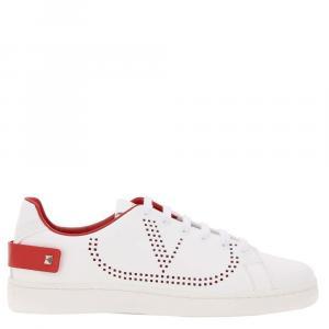 Valentino Garavani White/Red Leather Backnet Sneakers Size 38
