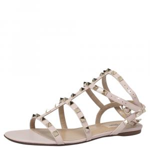 Valentino Water Rose Leather Rockstud Ankle Strap Flat Sandals Size 40