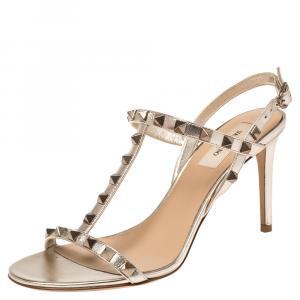 Valentino Metallic Beige Leather Rockstud Embellished T-strap Sandals Size 38