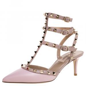 Valentino Rose Pink/Beige Leather Rockstud Embellished Pointed Toe Sandals Size 39