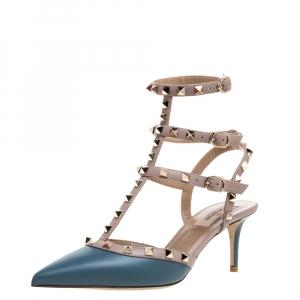 Valentino Teal Blue Leather Rockstud Embellished Pointed Toe Sandals Size 39