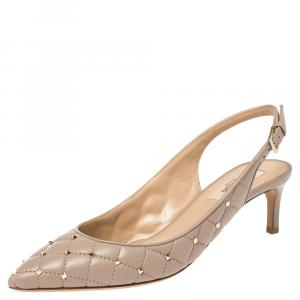 Valentino Blush Pink Leather Rockstud Embellished Pointed Toe Slingback Sandals Size 37