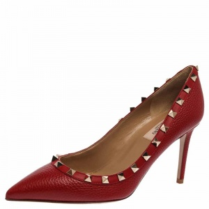Valentino Red Leather Rockstud Pointed Toe Pumps Size 37.5