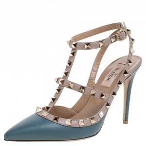 Valentino Teal Leather Rockstud Accents T Strap Sandals Size 38