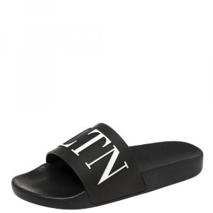 Valentino Black Rubber VLTN Pool Slide Flat Size 40