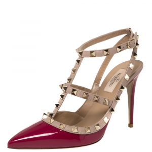 Valentino Burgundy Patent Leather Rockstud Ankle Strap Sandals Size 38