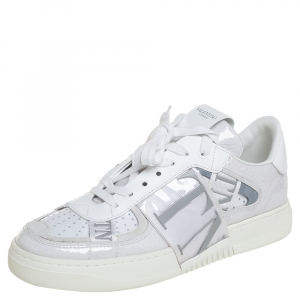 Valentino White Leather And PVC VLTN Low Top Sneakers Size 38