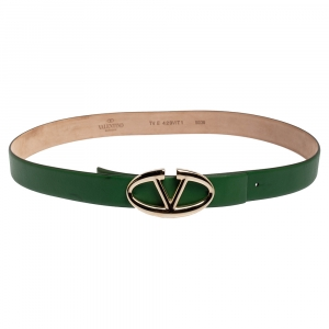 Valentino Green Leather V Logo Buckle Belt 90CM
