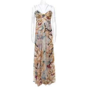 Valentino Vintage Multicolor Floral and Hexagon Print Layered Silk Chiffon Gown L used