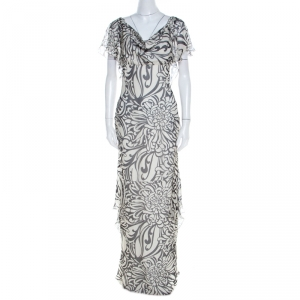 Valentino Monochrome Floral Printed Silk Ruffled Backless Evening Gown M used