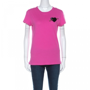 Valentino Pink Cotton Heart Applique T Shirt S - used