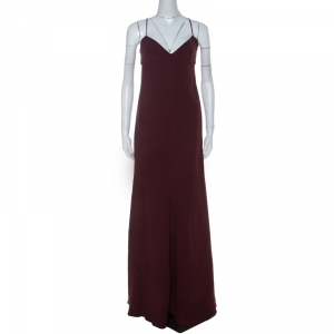 Valentino Burgundy Crepe Knit Plunge Neck Strappy Evening Gown L - used