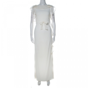 Valentino Off White Stretch Knit Ruffle Detail Sleeveless Gown S used