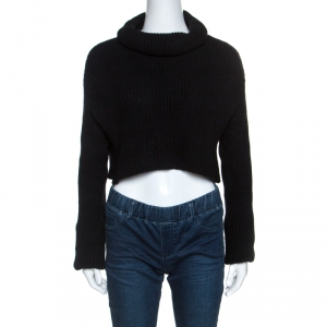 Valentino Black Wool Rib Knit Turtle Neck Cropped Sweater M - used