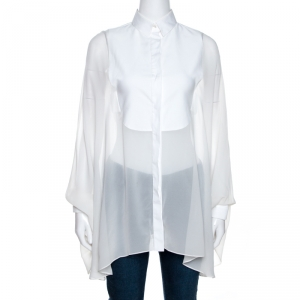 Valentino White Silk Draped Detail Button Front Blouse S - used