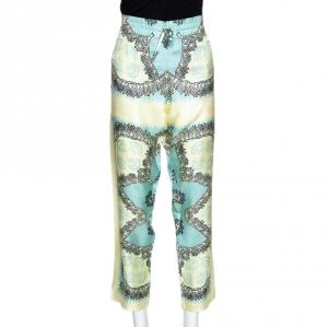 Valentino Turquoise and Yellow Printed Silk Pajama Pants L - used