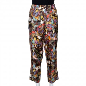 Valentino Multicolor Butterfly Printed Silk Elasticised Waist Pants M