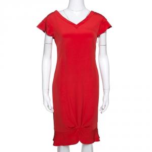 Valentino Lacquer Red Silk Crepe Draped Sheath Dress M used