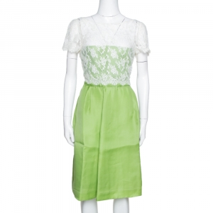 Valentino Lime Green Silk Contrast Lace Detail Sheath Dress L - used