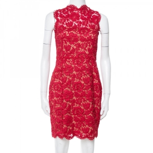 Valentino Red Lace Bow Detail Sleeveless Sheath Dress M