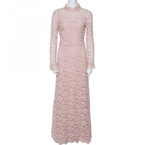 Valentino Light Pink Floral Lace Long Sleeve Gown M used