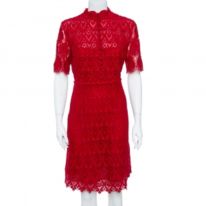 Valentino Red Lace Button Front Sheath Dress M - used