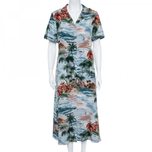 Valentino Pale Blue Hawaiian Landscape Print Silk Shirt Dress M