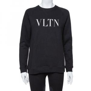 Valentino Black Cotton Knit VLTN Print Sweatshirt S