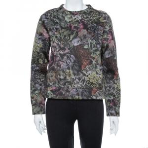 Valentino Multicolor Floral Printed Neoprene Sweatshirt M