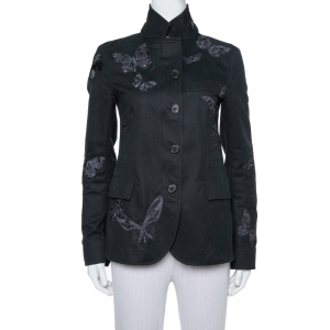 Valentino Black Gabardine Butterfly Applique Detail Jacket S