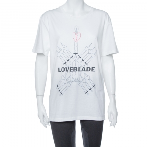 Valentino White Love Blade Print Cotton Crew Neck T-Shirt M - used