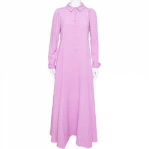 Valentino Lilac Silk Crepe Collared Maxi Dress M
