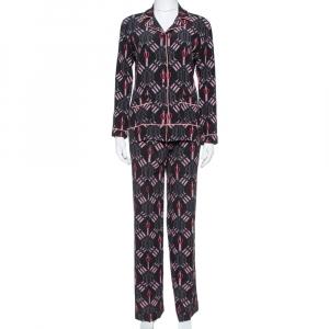 Valentino Black Silk Crepe Love Blade Print Pajama Set XS - used