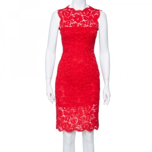 Valentino Red Floral Lace Sleeveless Sheath Dress S - used