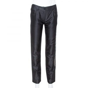 Valentino Black Silk Side Embellished Trousers M