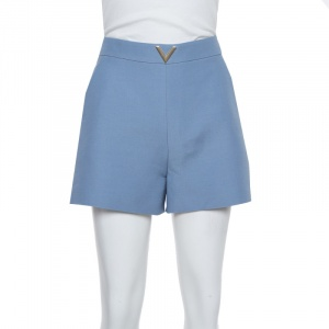 Valentino Powder Blue Wool Twill VGOLD High Waist Shorts S