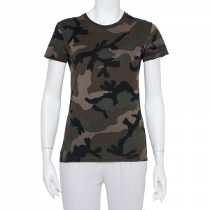 Valentino Green Camouflage Printed Cotton Crewneck T-Shirt XS - used