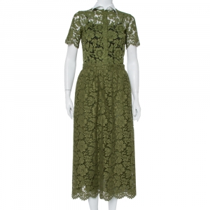 Valentino Green Lace Button Front Shirt & Midi Skirt Set S - used