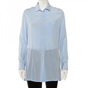 Valentino Blue Striped Silk Scoop Back Detail Button Front Shirt M - used