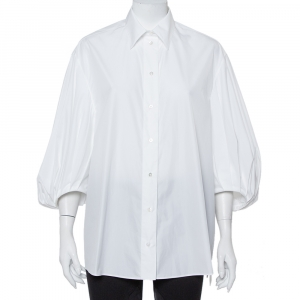 Valentino White Cotton Balloon Sleeve Button Front Shirt M - used