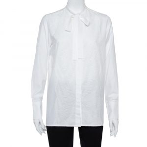 Valentino White Cotton Neck Tie Detail Lace Front Shirt M - used