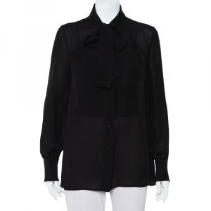 Valentino Black Silk Neck Tie Detail Button Front Shirt M - used