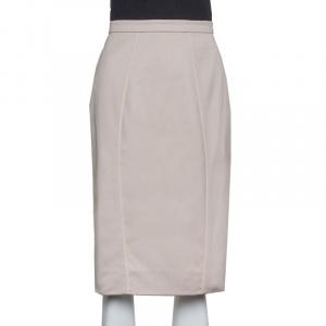 Valentino Beige Cotton Ruffle Detail Paneled Knee Length Skirt M