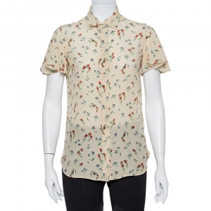 Valentino Cream Floral Printed Silk Button Front Shirt S - used