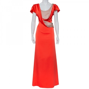 Valentino Orange Satin Draped Neck Detail Maxi Dress XL