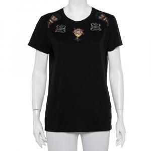 Valentino Black Cotton Beaded Flower Applique Detail Crewneck T-Shirt XL - used