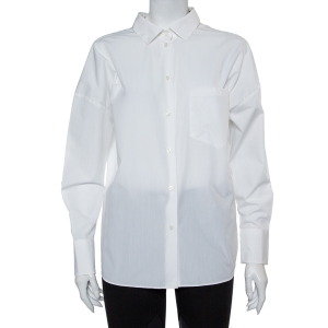Valentino White Cotton Back Tie Detail Button Front Shirt S