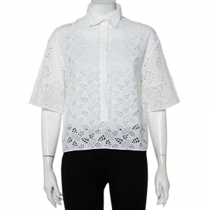 Valentino White Eyelet Lace Collared Button Front Shirt M - used