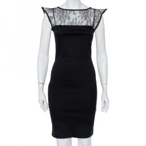 Valentino Black Knit & Lace Paneled Sheath Dress M - used